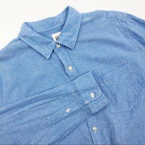 Gap Chambray Blue Button Front Shirt Long Sleeve